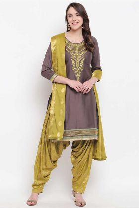 Coffee Color Banglori Silk Punjabi Dress With Bandhani Print Salwar