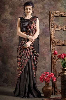 Coffee Color Party Wear Saree Online Shopping