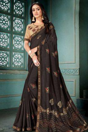 Coffee Color Vichaitra Silk Designer Saree With Foil Printed Work