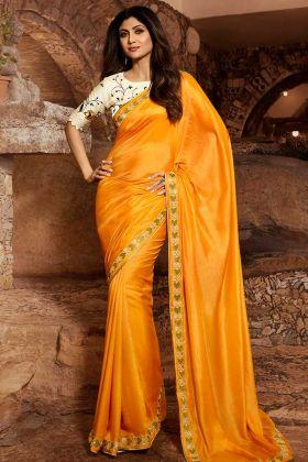 Comfort Wearing Satin Silk Designer Saree In Mustard Yellow Color