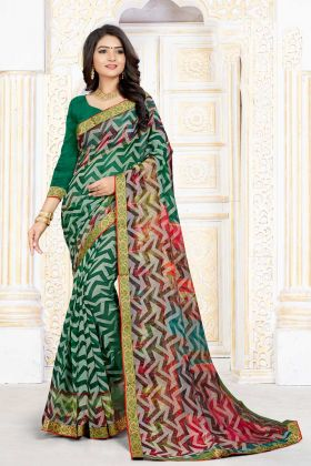 Confounding Green Chiffon Brasso Casual Saree With Printed Work