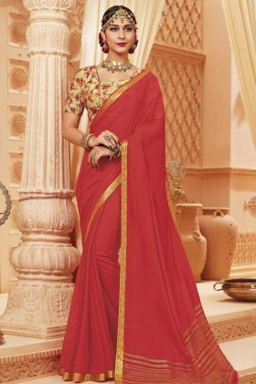 Coral Color Print Work Satin Silk Saree Online