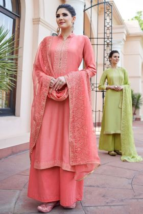 Coral Heavy Muslin Palazzo Suit