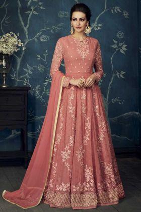 Coral Korean Lycra Anarkali Suit