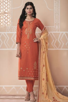 Coral Party Wear Pure Cotton Salwar Suit