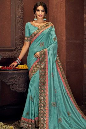 Cord Embroidery Work Blue Color Tussar Silk Festival Saree