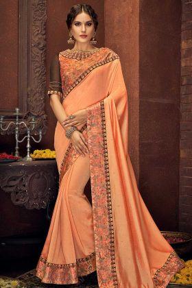Cord Embroidery Work Peach Color Silk Goegette Saree