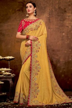Cord Embroidery Work Yellow Color Dual Tone Silk Georgette Wedding Saree