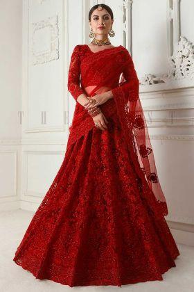 Heavy Cording Embroidery Work Net Red Lehenga Choli