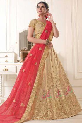 Cotton Gota Silk Lehenga Choli Zari Work In Golden Color