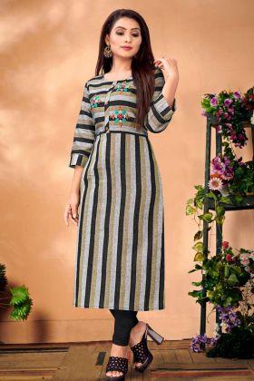 Cotton Black And Grey Designer Straight Kurti