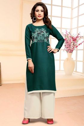 Cotton Designer Dress Material In Teal Green
