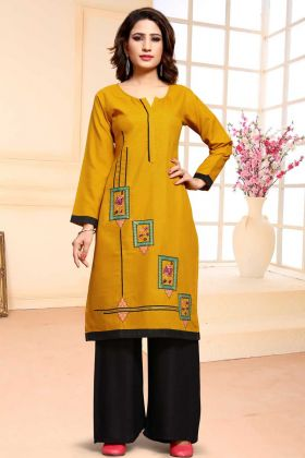 Cotton Designer Dress Material In Yellow