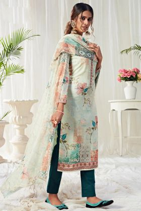 Cotton Digital Printed Beige Color Pant Style Salwar Dress For Regular Wear