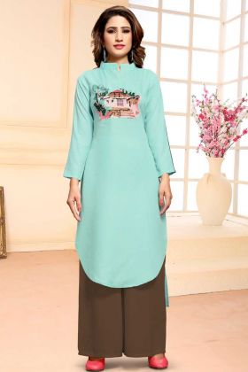 Cotton Dress Material Turquoise Blue Salwar Suit