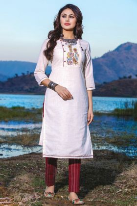 Cotton Linen White Casual Wear Readymade Kurti With Bottom