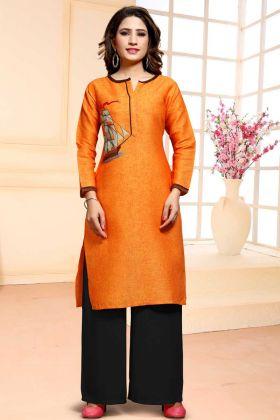 Cotton Orange Unstitched Straight Salwar Suit