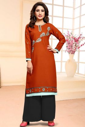 Cotton Rust Orange Casual Salwar Kameez
