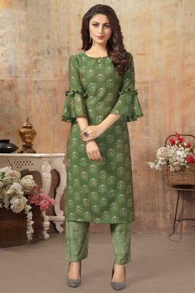 Cotton Silk Olive Green Kurti Pant Set In Beautiful Prints