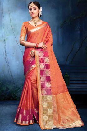 Cotton Silk Orange Color Party Wear Saree