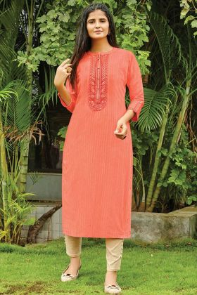 Cotton Silk Peach Readymade Casual Kurti