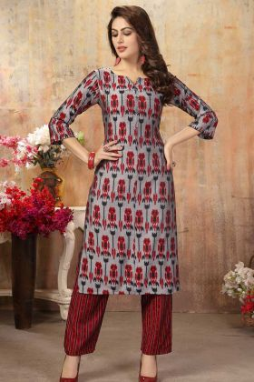 Cotton Silk Printed Grey Latest Kurti Design