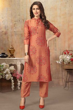 Cotton Silk Rust Orange Stylish Kurti