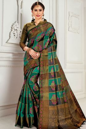 Cotton Silk Sea Green And Black Weaving Saree