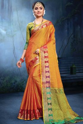Cotton Silk Yellow And Red Color Party Wear Saree