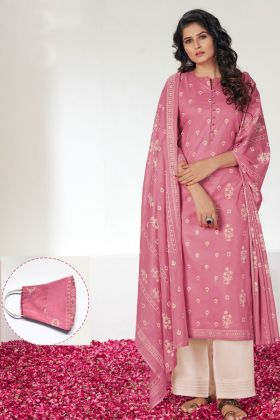 Cotton Straight Salwar Suit With Old Rose Color