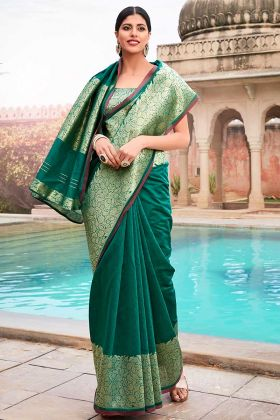 Cotton Teal Green Designer Saree In Jacquard Border