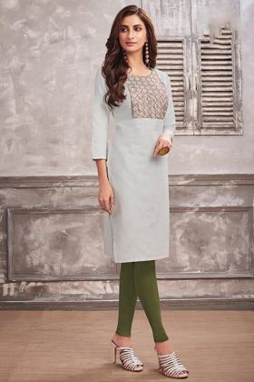 Cotton Casual Kurti Embroidery Work In Off White Color