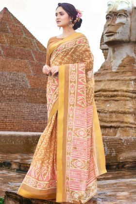 Cotton Chiffon Printed Saree In Brown Color