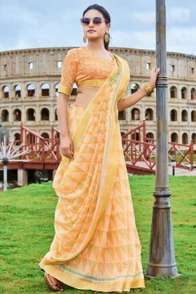 Cotton Chiffon Saree Printed Work In Light Orange Color