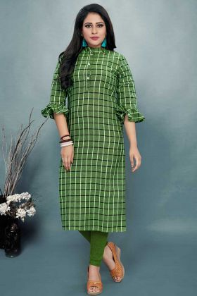 Cotton Designer Kurti Printed Work In Green Color