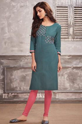Cotton Designer Kurti Teal Green Color With Embroidery Work