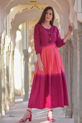 Cotton Designer Long Kurti Embroidery Work In Pink Color