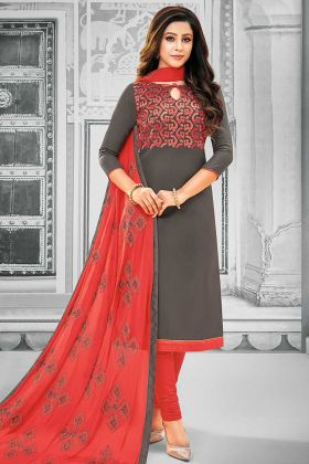 Cotton Dress Material Resham Embroidery Work In Dark Grey Color