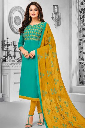 Cotton Dress Material Resham Embroidery Work In Sea Green Color