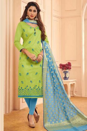 Cotton Dress Material Thread Embroidery Work In Light Green Color