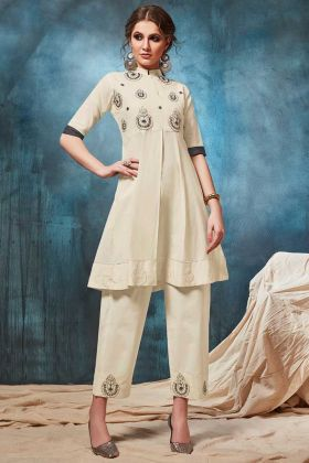 Cotton Fabric Off White Designer Readymade Pair Kurta