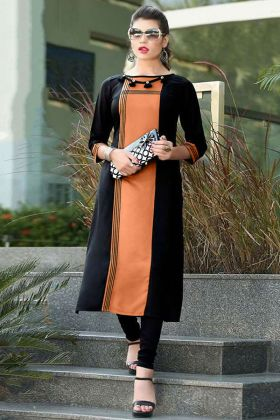 Cotton Fancy Kurti Embroidery Work In Black and Orange Color