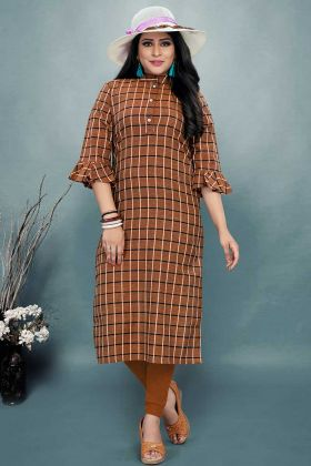 Cotton Fancy Kurti Printed Work In Brown Color