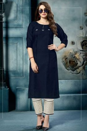 Cotton Fancy Kurti Set Embroidery Work In Navy Blue Color