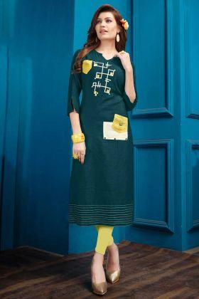 Cotton Flex Designer Kurti Dark Green Color