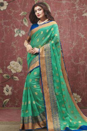 Cotton Green Festive Saree Online
