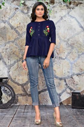 Cotton Hand Work Galaxy Embroidery Tops Navy Blue Color