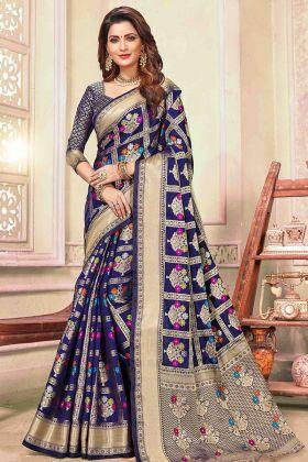 Cotton Handloom Blue Designer Saree In Weaving Print