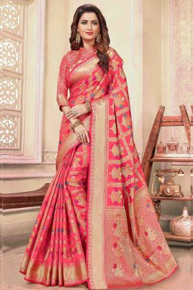 Cotton Handloom Wedding Saree Pink Color For Women