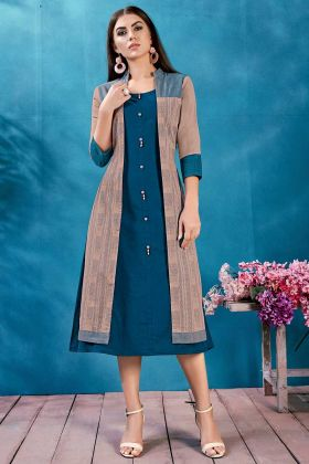 Cotton Jacket Style Festival Kurti Thread Work In Blue Color
